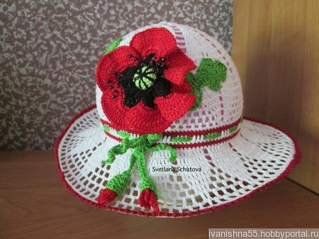 Летняя шляпка с маком ручной работы на заказ