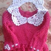 Ажурное платье для девочки малиновое