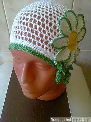 Летняя шапочка с цветком ручной работы на заказ