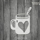 Чипборд Кружка с сердцем