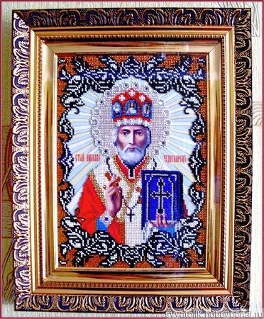 """Икона  """"Святой Николай Чудотворец"""" ручной работы на заказ"""