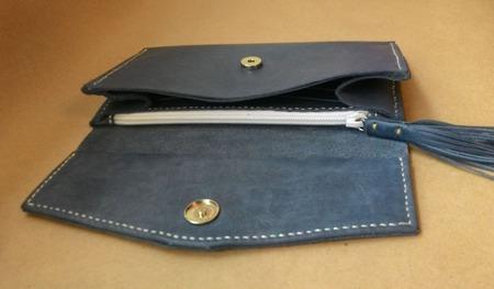 Женский кожаный кошелек-клатч ручной работы на заказ