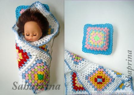 Комплект одеяло и подушка для куклы ручной работы на заказ