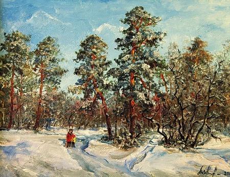Зимний солнечный день в сосновом бору ручной работы на заказ