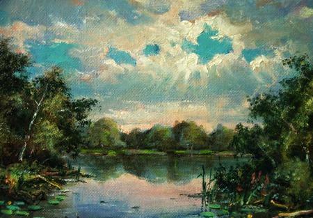 Пейзаж с рекой ручной работы на заказ