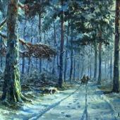 Зимняя лесная дорога. Первый снег.