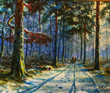 Зимняя лесная дорога. Первый снег. ручной работы на заказ