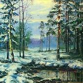 Зимний пейзаж. Масляная живопись.