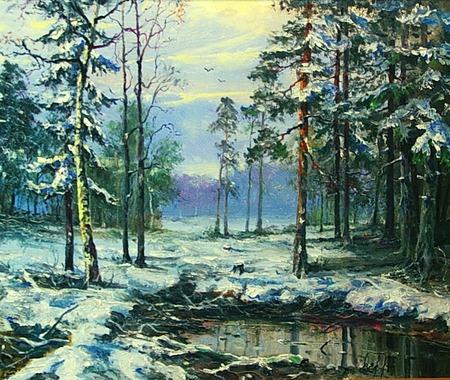 Зимний пейзаж. Масляная живопись. ручной работы на заказ