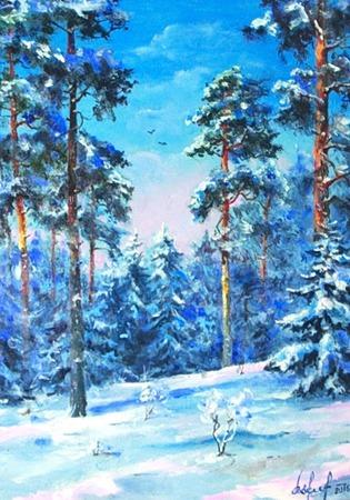 Картина Сосны в снегу ручной работы на заказ