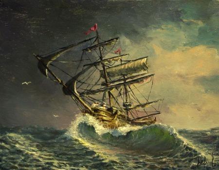Парусники (серия морских пейзажей) ручной работы на заказ