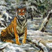 Тигр в снегопад. Масляная живопись.