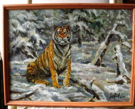 Тигр в снегопад. Масляная живопись. ручной работы на заказ