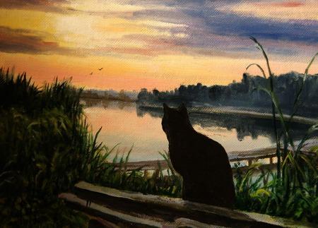 """Картина """"Закат на реке"""" ручной работы на заказ"""