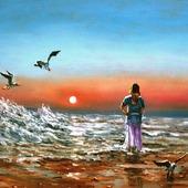 """Картина """"Закат. Морской пейзаж"""""""