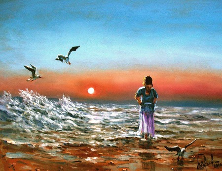 "Картина ""Закат. Морской пейзаж"" ручной работы на заказ"