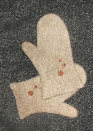 Варежки валяные Кофе со сливками ручной работы на заказ