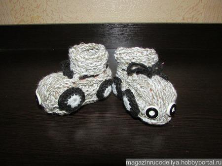 Пинетки детские Машинка + носочки в подарок ручной работы на заказ