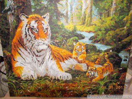 """Картина """"Семейство тигров"""" ручной работы на заказ"""
