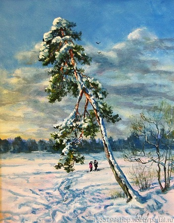 """Зимний пейзаж """"Одинокая сосна"""" ручной работы на заказ"""