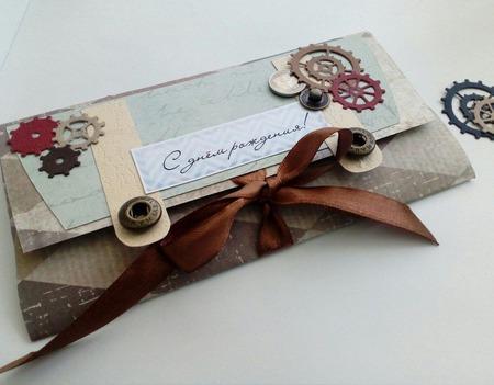 Подарочный конверт для денег ручной работы на заказ