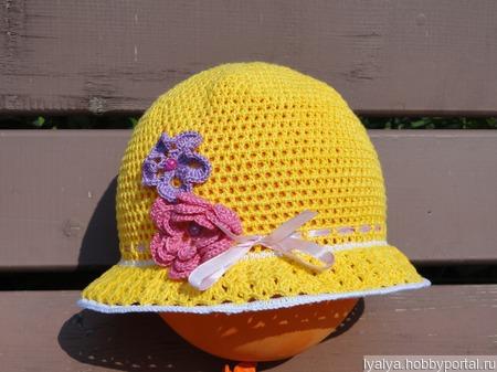 """Шляпка для девочки """"Весенние цветы"""" ручной работы на заказ"""
