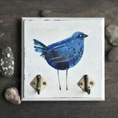 Синяя птица счастья, ключница с росписью