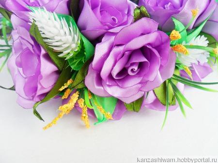 Венок Сиреневые розы ручной работы на заказ
