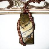 Кулон wire wrap из проволоки с яшмой