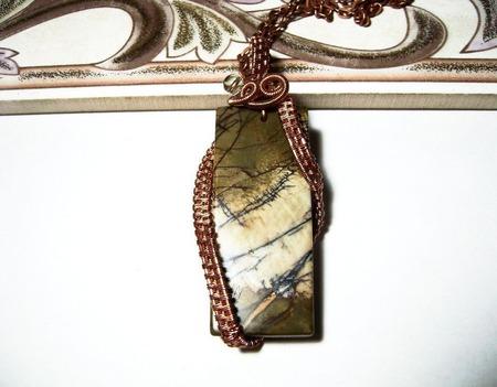 Кулон wire wrap из проволоки с яшмой ручной работы на заказ