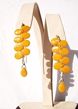 Серьги из серебра и чешского стекла-оранжевые ручной работы на заказ