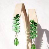 Серьги из серебра и чешского стекла-зелёные