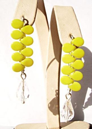 Серьги из серебра и чешского стекла-жёлтые ручной работы на заказ