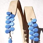 Серьги из серебра и чешского стекла-голубые