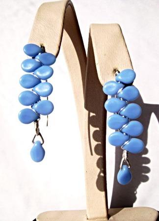Серьги из серебра и чешского стекла-голубые ручной работы на заказ