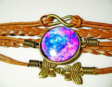 """Кожаный браслет """"Галактика"""" ручной работы на заказ"""