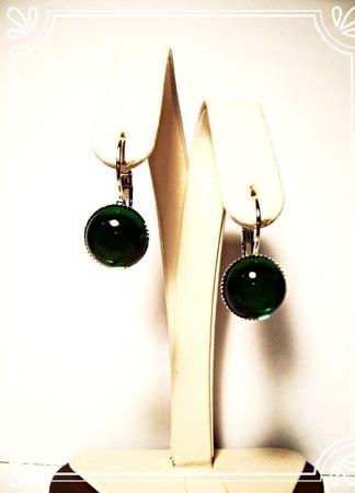 Серьги с чешским стеклом - зелёные ручной работы на заказ