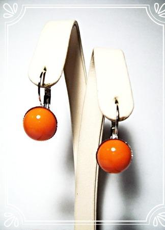 Серьги с чешским стеклом - оранжевые ручной работы на заказ