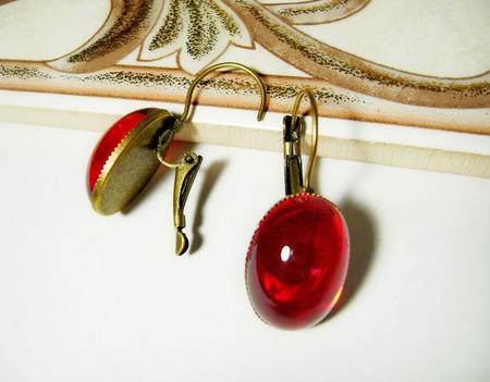 Серьги из чешского стекла - красные ручной работы на заказ