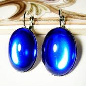 Серьги из чешского стекла - синие