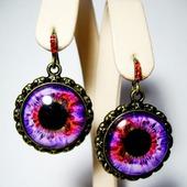"""Серьги с изображением """"Глаз""""- фиолетовые"""