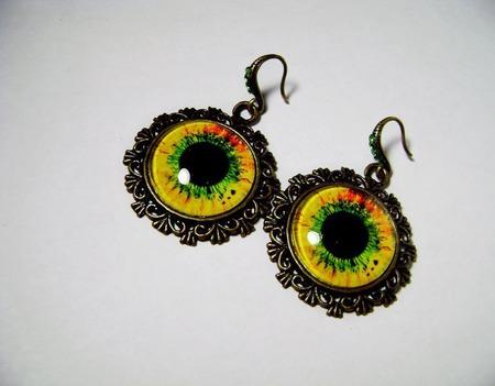 Серьги с изображением жёлто-зелёные ручной работы на заказ