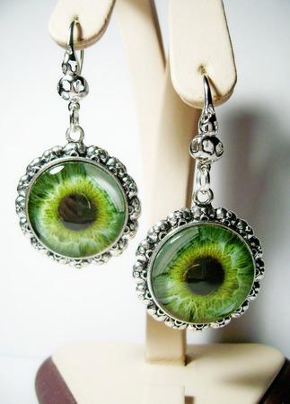 """Серьги """"Глаз зелёный"""" ручной работы на заказ"""