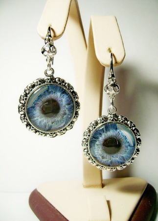 """Серьги """"Глаз голубой"""" ручной работы на заказ"""