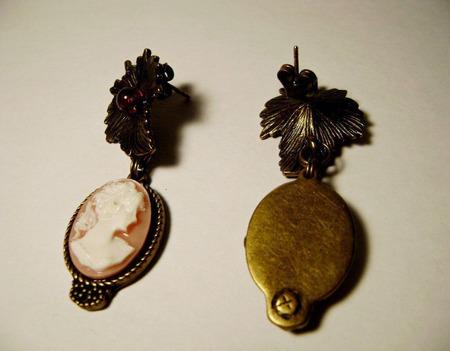 Серьги-гвоздики с камеей ручной работы на заказ