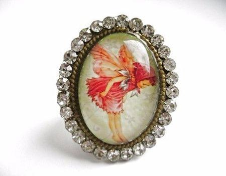 """Крупное кольцо с изображением """"Фея"""" ручной работы на заказ"""