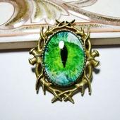 """Брошка """"Глаз"""" зелёный"""