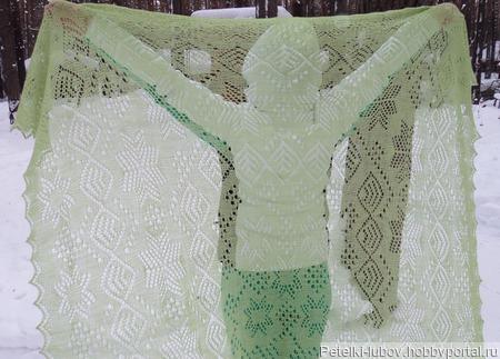 Оренбургский платок Танец снежинок ручной работы на заказ