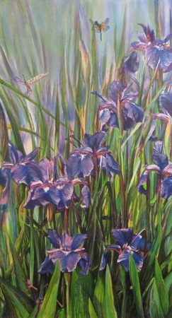 Синие ирисы и стрекозы, картина на шелке ручной работы на заказ