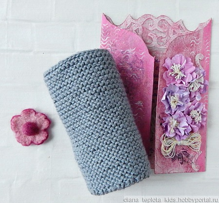 Снуд с декором-цветок ручной работы на заказ